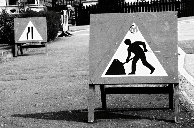 Roadworks signage
