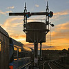 Signal gantry at sunset<br /> Downpatrick railway station<br /> County Down