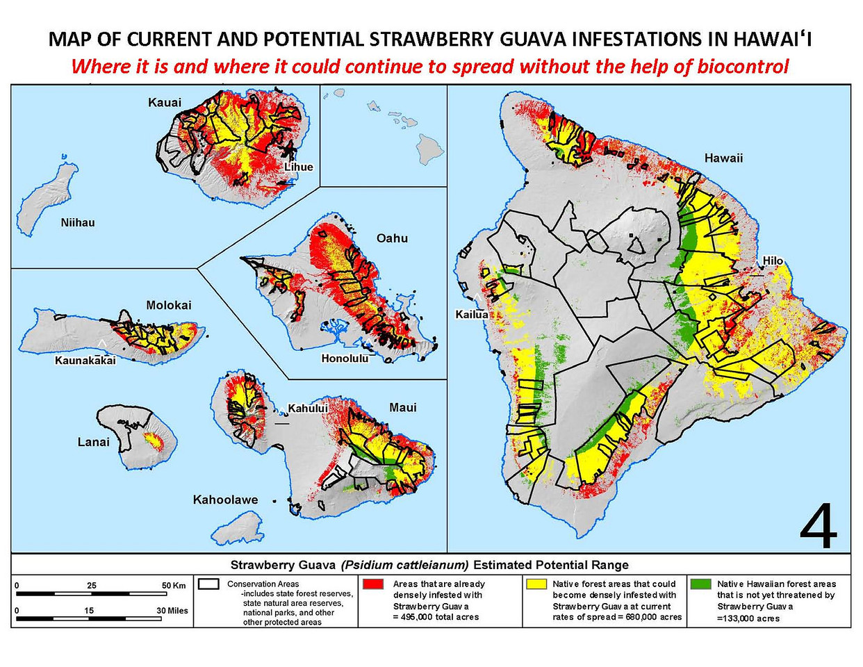 Map of current and potential strawberry guava infestations in Hawaii