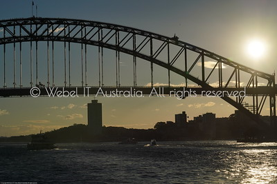 Sydney Harbour Bridge at sunset from the Manly Ferry