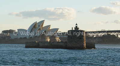 "Sydney Opera House and ""Pinchgut Island"" (Fort Denison) from the Manly Ferry"