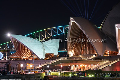 Sydney Vivid 2018: Opera House forecourt with Harbour Bridge in background