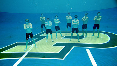 The 2012 Purdue Men's Swimming Seniors, underwater! An amazing opportunity to create a really cool shot.