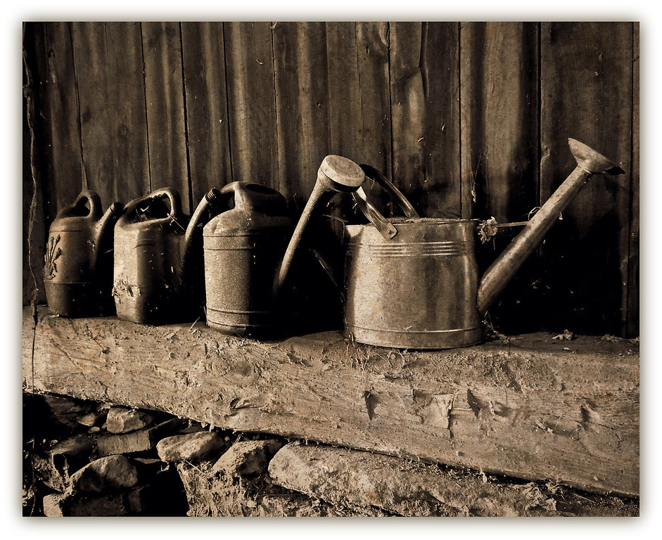 Watering Cans in the Barn