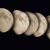 3/4 moon time lapse across the sky in the northern hemisphere