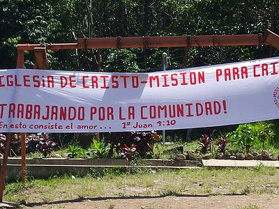 Mision Para Cristo banner announcing our presence at this location to the community