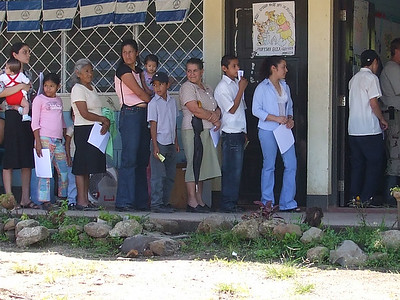 Line forms to see doctors.