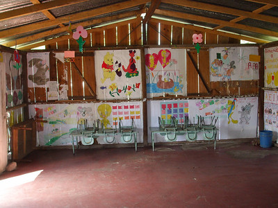 Colorful cheerful teaching aids in classroom