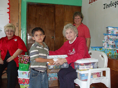Christmas boxes given at church in Jinotega
