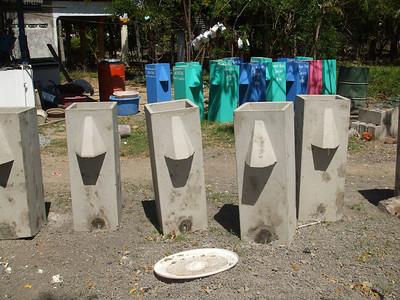 Water filters drying in shop