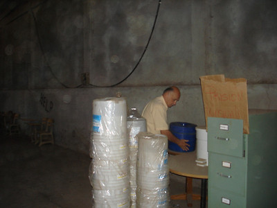 Unloading water filters in warehouse