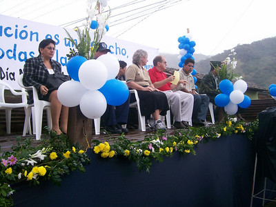 Donna, Benny and Alberto, our new mission Director of Education, on VIP stand at ceremony