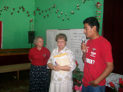 Ann explaining bible material to teachers