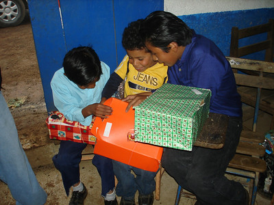 St. Inez boys checking out what is in their Smile box