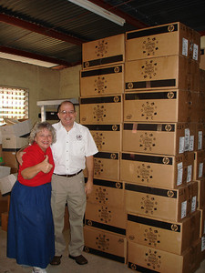 Donna & Benny happy to see all the Smile boxes yet to be delivered