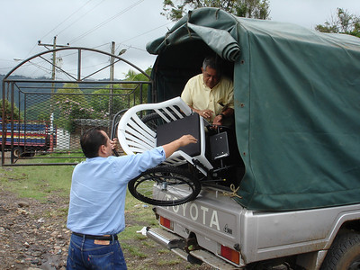 Unloading wheelchairs at adult nursing home in Jinotega