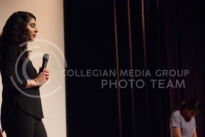 Sophomore in Management Information Systems Milca Aguirre shows off her magical talents at the Belliza Latina pageant at Forum Hall on April 22, 2017. (Kelly Pham | The Collegian)