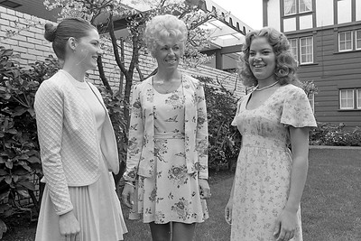 Miss Humboldt 1974 Chollana Pepper, left, talked with 1975 pageant chaperone Donna Bryan, center, and Nancie Hubacker, one of the pageant contestants for 1975.  (Times-Standard file photo)