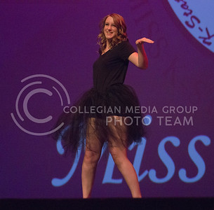 Regan Roth represents Alpha Chi Omega with a sassy dance to Beyonce at Miss K-State at McCain Auditorium on April 11th, 2017. (Kelly Pham   The Collegian)