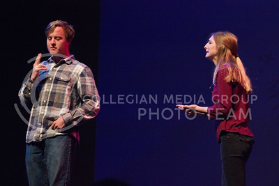 Kappa Kappa Gamma representative Bridgette Beasley shows the crowd a little taste of improv at Miss K-State at McCain Auditorium on April 11th, 2017. (Kelly Pham | The Collegian)