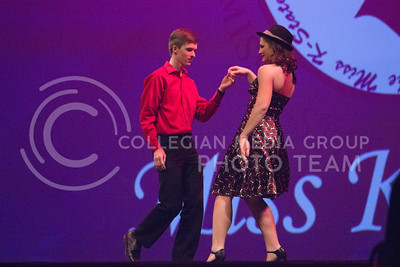 Christine Laflin, representative for the honors house showing the crowd her salsa moves at Miss K-State at McCain Auditorium on April 11th, 2017. (Kelly Pham | The Collegian)