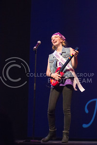 Kappa Kappa Gamma representative Bridgette Beasley rocks the crowd on at Miss K-State at McCain Auditorium on April 11th, 2017. (Kelly Pham | The Collegian)