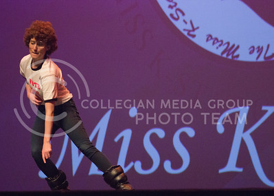 Amber Schaefer, representative for Kappa Delta channels her inner Napolean Dynamite at Miss K-State at McCain Auditorium on April 11th, 2017. (Kelly Pham   The Collegian)