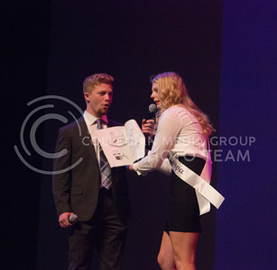 Representing Sigma Kappa at Miss K-State is Jacy Lenard showing off her magical tricks at McCain Auditorium on April 11th, 2017. (Kelly Pham | The Collegian)