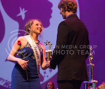 Ashton Thomas wins the Team Spirit award at Miss K-State at McCain Auditorium on April 11th, 2017. (Kelly Pham   The Collegian)