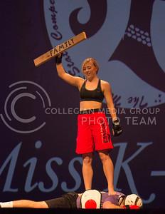 Pi Beta Phi representative Kaytlyn Schwartz shows off her martial art skills at Miss K-State at McCain Auditorium on April 11th, 2017. (Kelly Pham   The Collegian)