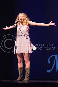 Ashton Thomas, representative for Alpha Xi Delta introduces herself at Miss K-State at McCain Auditorium on April 11th, 2017. (Kelly Pham   The Collegian)