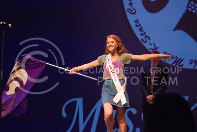 Sarah Zuzpan introduces herself at Miss K-State as a representative for Zeta Tau Alpha at McCain Auditorium on April 11th, 2017. (Kelly Pham | The Collegian)