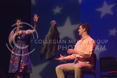 """Alpha Delta Pi representative Alexandria Brun belts out """"The Way I Am"""" at Miss K-State at McCain auditorium on April 11th, 2017. (Kelly Pham   The Collegian)"""
