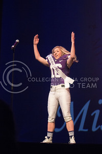 Pi Beta Phi representative Kaytlyn Schwartz introduces herself in athletic gear at Miss K-State at McCain Auditorium on April 11th, 2017. (Kelly Pham   The Collegian)