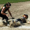 STAN HUDY - SHUDY@DIGITALFIRSTMEDIA.COM<br /> Miss Shen Thunder 10U - Emily Baumes applies the tag at 3B