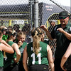 STAN HUDY - SHUDY@DIGITALFIRSTMEDIA.COM<br /> Miss Shen Thunder manager Josh Kean talks to his squad between innings Sunday afternoon during the Slide into Summer tournament.