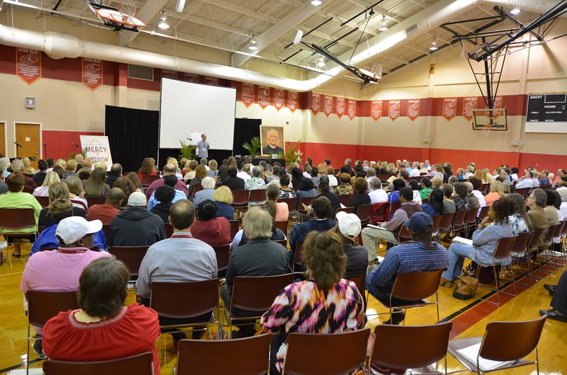 The conference filled the gym at Sacred Heart School