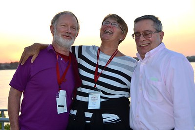 On the deck prior to the Mississippi riverboat cruise: Fr. Tim Gray, Susan Koepke and Br Frank Presto.