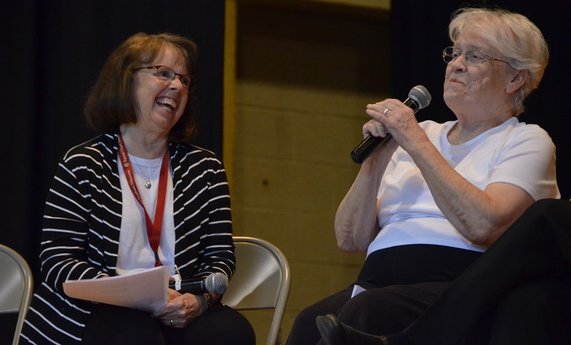 """Sr. Emily Morgan of the pastoral team lets people know that as the team elder, """"I get away with a lot!"""" :)"""