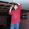 Danny inside the church putting up sheet rock