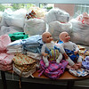 Some of the 360 diapers Bev's group made for the trip.