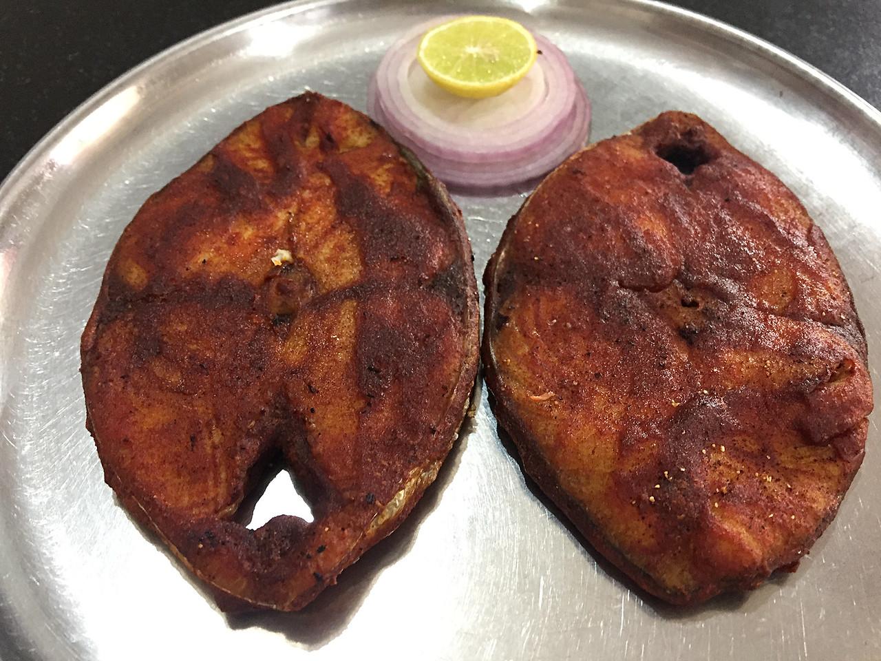 Fried kingfish at Hotel Sea View in Karwar, Karnataka, India