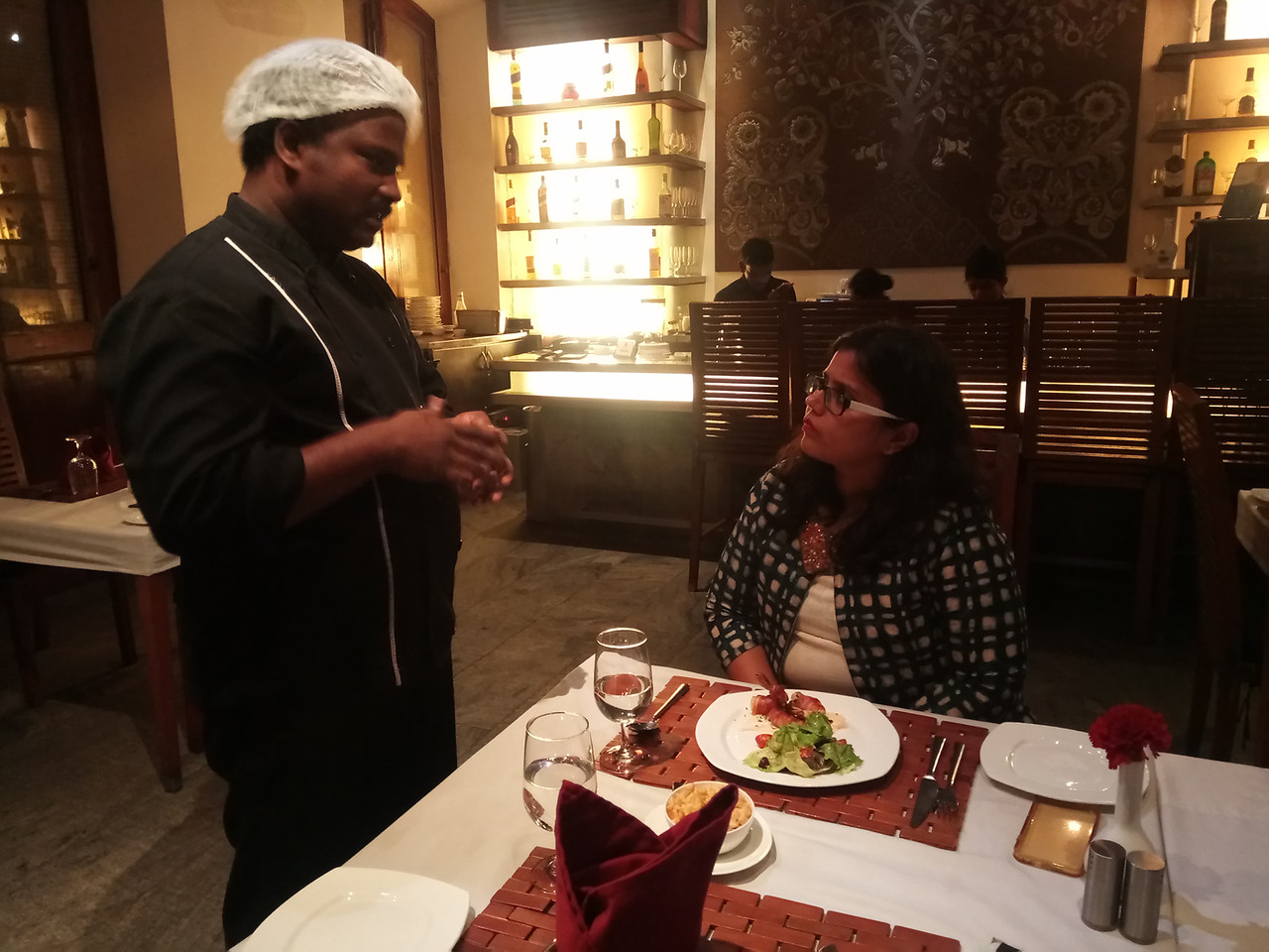 Talking to Chef Kartik about the food at Le Dupleix in Pondicherry, Tamil Nadu, India