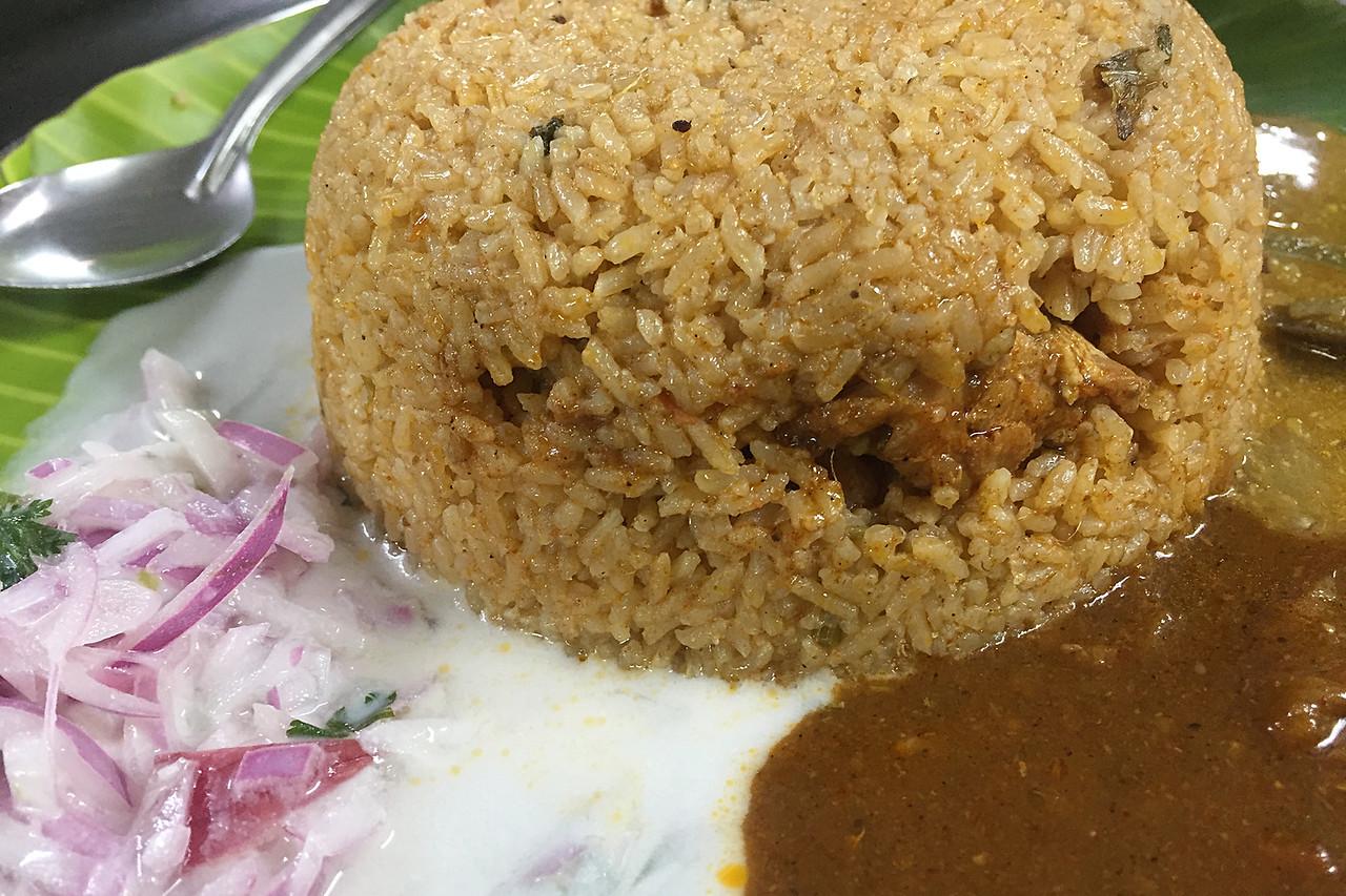 Meat biryani at NMR Biryani, Palakkad, Kerala, India