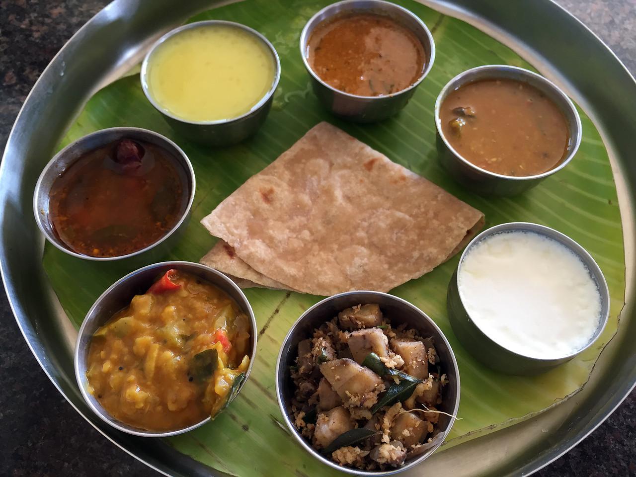 Vegetarian thali at Sarvana Bhavan near Salem, Tamil Nadu, India