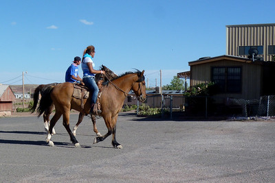 Navajo Mission - 2012 - Horse riders coming to the gymnasium to play basketball