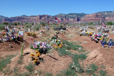 Navajo Mission - 2012 - Lukachukai Cemetery before we replaced all the tattered US Flags on the Veterans graves.