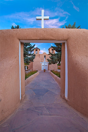 Mission San Francisco de Asis, Taos, New Mexico. Construction on the church began around 1772 and was completed in 1815 by Franciscan Fathers and its patron is Saint Francis of Assisi. It is made of adobe as are many of the Spanish missions in New Mexico. It was the subject of paintings by Georgia O'Keeffe and photographs by Ansel Adams and Paul Strand.