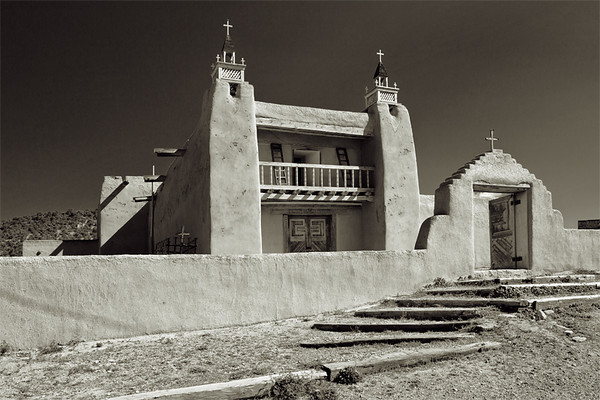 San Jose de Gracia, Las Trampas, New Mexico. Originally a lay chapel, San José de Gracia is situated on the original town plaza. The church was completed in 1780 and is considered to be one of the best preserved examples of Spanish Colonial Mission architecture in New Mexico.