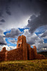 Abo, Salinas Pueblo Mission, New Mexico. In the Salinas basin stand the weathered ruins of three Puebloan villages and the Spanish colonial missions that make up Salinas National Monument. From about A.D. 1000 to the 1600s, the Puebloan communities of Abó, Quarai, and Gran Quivira (also known as Las Humanas) operated as major centers of trade. Gran Quivira, the largest of the Salinas pueblos, with a population of around 3,000.<br /> <br /> The pueblos were abandoned in the late 1600's because of famine and constant raids by Apache.